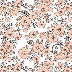 Retro english rose garden flowers and leaves boho blossom print nursery coral on white