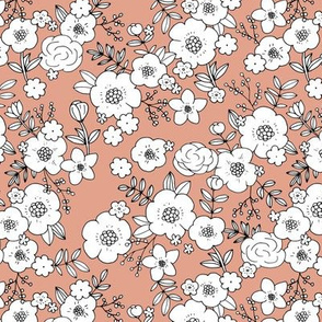 Retro english rose garden flowers and leaves boho blossom print nursery moody coral