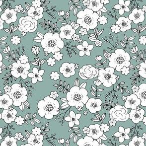 Retro english rose garden flowers and leaves boho blossom print nursery blue green white