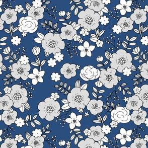 Retro english rose garden flowers and leaves boho blossom print nursery night navy blue white gray