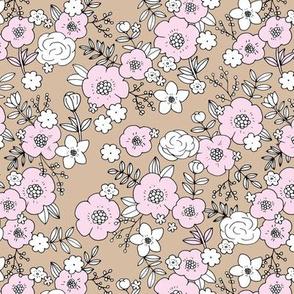 Retro english rose garden flowers and leaves boho blossom print nursery night latte beige pink white