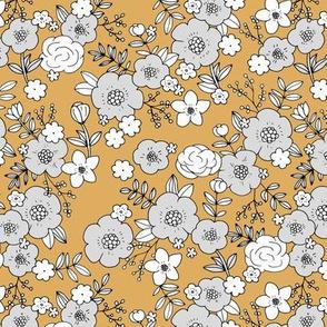 Retro english rose garden flowers and leaves boho blossom print nursery night mustard yellow gray white