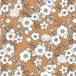 Retro english rose garden flowers and leaves boho blossom print nursery night mustard rust copper brown