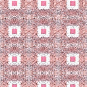 Squares with Middles -pixilated white with pink