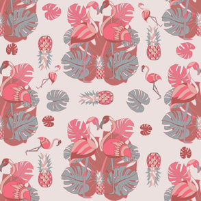 two flamingos and pineapple