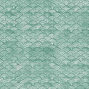 Japanese Ocean Waves in Jade Green | Block print pattern, Japanese waves Seigaiha pattern in sea foam green.