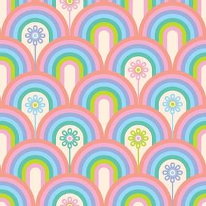 Rainbow Floral in Pastel Pink, Blue, Purple and Green - UnBlink Studio by Jackie Tahara