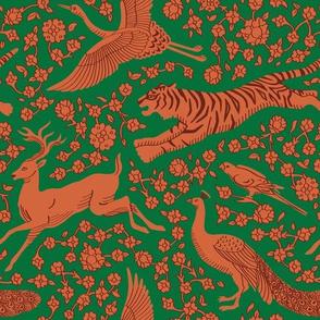 Persian Animals - Orange Emerald Green