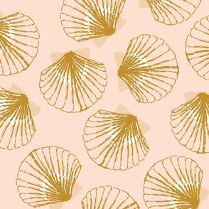 LARGE Shells - Pale Peach and Mustard