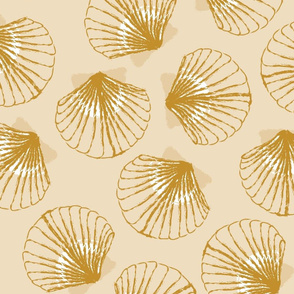 LARGE Shells - Sand and Mustard