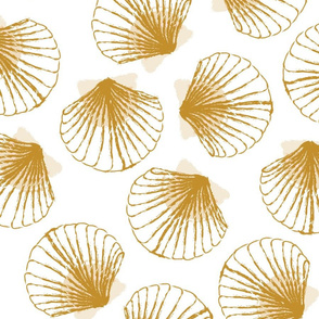 LARGE Shells - white and Mustard
