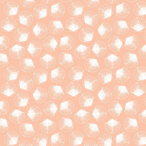 SMALL Shells - peach and white