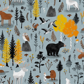 Canadian Boreal Forest on Ice Blue