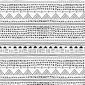 Minimal linen mudcloth bohemian mayan abstract indian summer love aztec design monochrome black and white MEDIUM