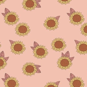 Boho Sunflower garden summer blossom sweet girls nursery design peach pink orange yellow rust