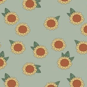 Boho Sunflower garden summer blossom sweet girls nursery design sage green
