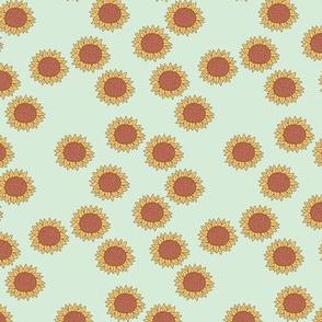Simple boho Sunflower garden summer blossom sweet girls nursery design mint green