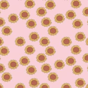 Simple boho Sunflower garden summer blossom sweet girls nursery design pink
