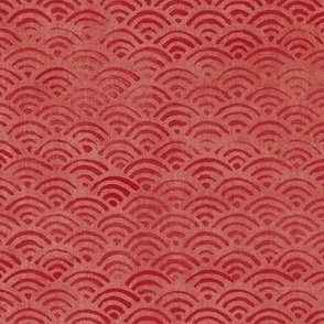 Japanese Block Print Pattern of Ocean Waves (xl scale) | Japanese Waves Pattern in Red Ochre, Red Boho Print, Beach Fabric.