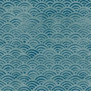 Japanese Block Print Pattern of Ocean Waves (xl scale) | Japanese Waves Pattern in Teal Blue, Blue Green Boho Print, Beach Fabric.