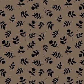 Cotton flowers and leaves garden boho minimal scandinavian fields nursery nature muddy brown