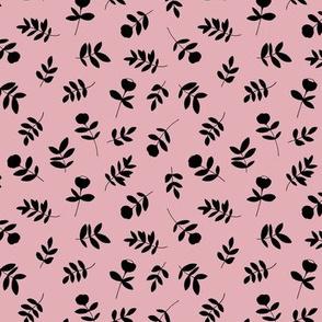 Cotton flowers and leaves garden boho minimal scandinavian fields nursery nature pink black
