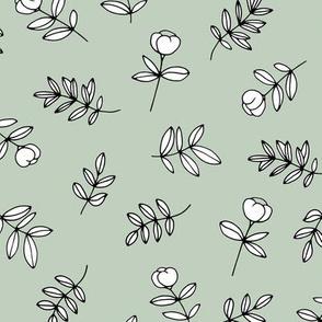 Romantic garden cotton flowers and leaves boho minimal scandinavian fields nursery nature soft sage mint green