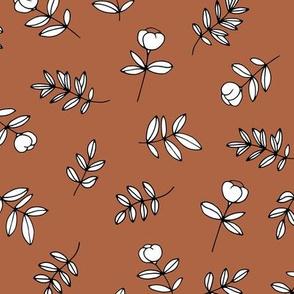 Romantic garden cotton flowers and leaves boho minimal scandinavian fields nursery nature rust copper brown