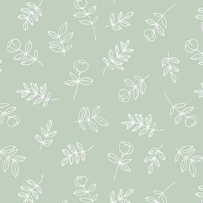 Petals and flowers boho summer garden poppy love neutral nursery moody minty sage green