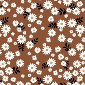 Little daisies and leaves summer garden minimal Scandinavian blossom chocolate brown