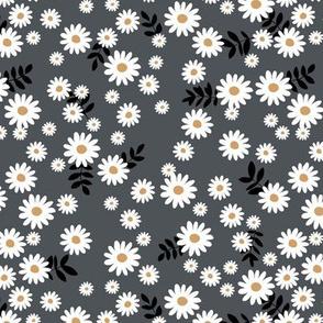Little daisies and leaves summer garden minimal Scandinavian blossom charcoal black white
