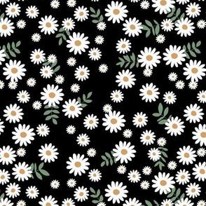 Little daisies and leaves summer garden minimal Scandinavian blossom black white green yellow