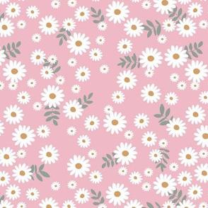 Little daisies and leaves summer garden minimal Scandinavian blossom pink white green yellow