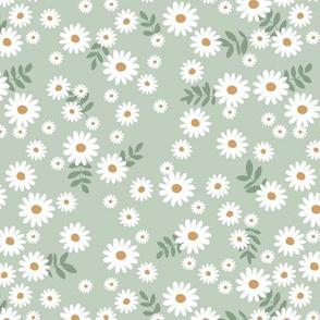Little daisies and leaves summer garden minimal Scandinavian blossom sage mint green white