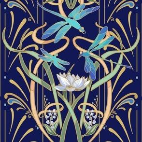 Art Nouveau Dragonflies Small | Navy