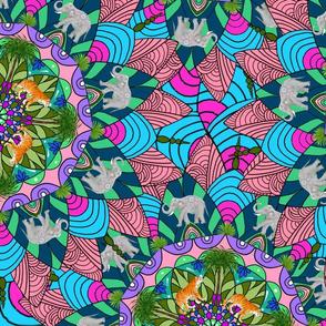 Tigers,elephant,mandala,boho style pattern