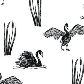 Diagonal Black Swans - block print