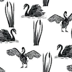Scattered Black Swans - smaller block print