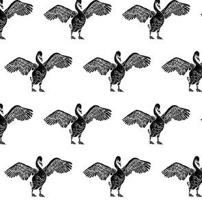 Swan with Open Wings - Block Print