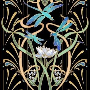 Art Nouveau Dragonflies Small | Black