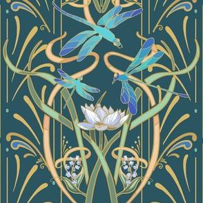 Art Nouveau Dragonflies Small   Deep Teal Green