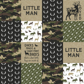(large scale) Little Man - So deerly loved -Ducks, Trucks, and Eight Point bucks - patchwork - woodland wholecloth - camo C2 duck & buck C20BS