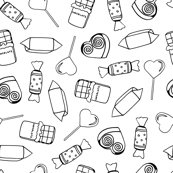 Black and white seamless pattern of sweets.