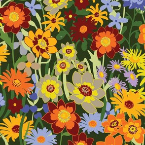 Brightly Colored Flowers in Summer Meadow on dark green, smaller version.