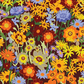 Bright Colorful Flowers in the Summer Meadow on dark Red Background