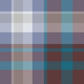 Tartan plaid, Brown, Teal and Gray, Large