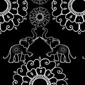 Wild Elephant - Fertility - Mandala Mehndi Flower - Floral Pattern #2 Black