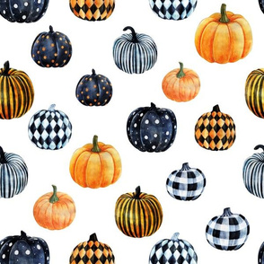 LARGE watercolor pumpkins fabric - halloween fabric - white