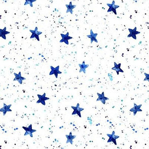 Moondust and stars - navy blue watercolor night sky with splatters and stars for modern nursery baby