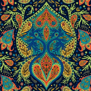 Paisley Pattern in Blue, Brick-Red & Green